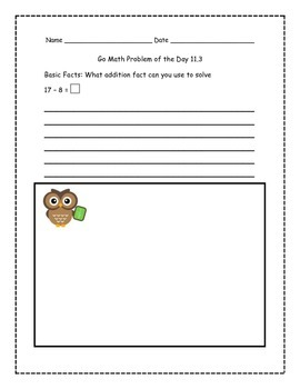 Go Math! Problems of the Day for 1st Grade Chapter 11