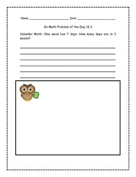 Go Math! Problems of the Day for 1st Grade Chapter 12