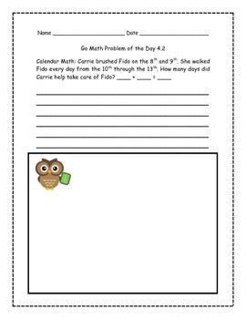Go Math! Problems of the Day for 1st Grade Chapter 4