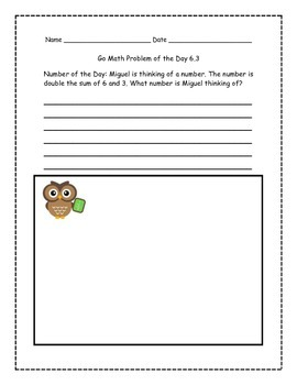 Go Math! Problems of the Day for 1st Grade Chapter 6