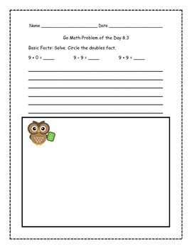 Go Math! Problems of the Day for 1st Grade Chapter 8
