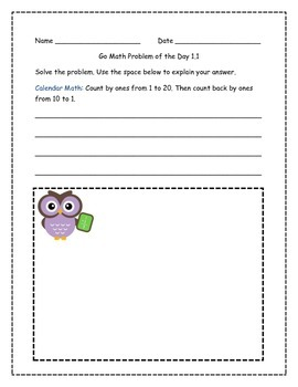 Go Math! Problems of the Day for 2nd Grade Chapter 1