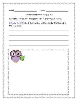 Go Math! Problems of the Day for 2nd Grade Chapter 2