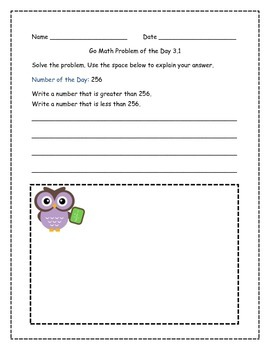 Go Math! Problems of the Day for 2nd Grade Chapter 3