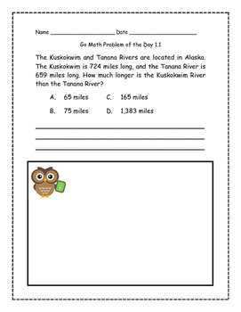 Go Math! Problems of the Day for 4th Grade Chapter 1