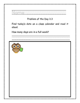 Go Math! Problems of the Day for Kindergarten Chapter 3