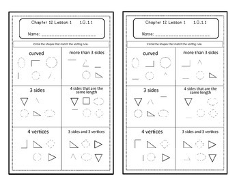 Go Math Quick Review Activities- Ch.12