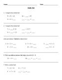 Go Math Related Facts/Fact Families Teacher-Made Test