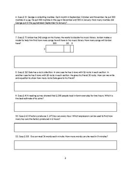 Go Math Review Sheet Ch 2 Multiplication 4th Grade