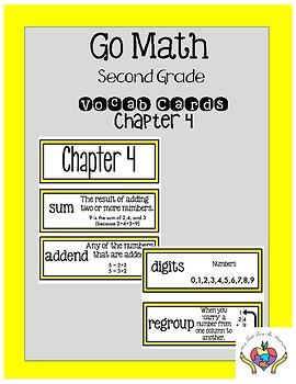 Go Math Chapter 4 Second Grade Vocabulary Cards