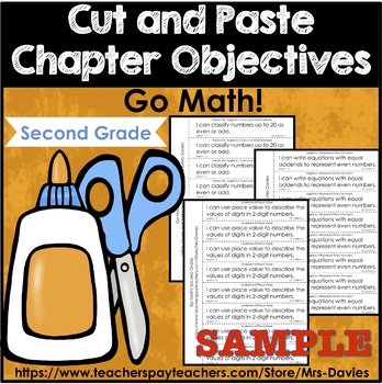 Go Math Second Grade Cut and Paste Chapter Objectives Free SAMPLE