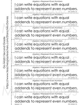 Go Math Second Grade Cut and Paste Chapter Objectives for Composition Notebooks