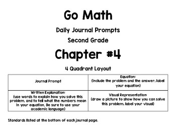 Go Math!-Second Grade-Chapter 4-Daily Journal Prompts