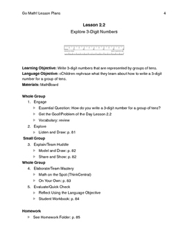 Go Math - Second Grade Lesson Plans - Chapter 2