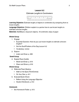 Go Math - Second Grade Lesson Plans - Chapter 9
