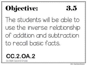 Go Math! Second Grade: Objectives Posters for the Year