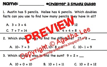 Go Math! Second Grade Study Pack for Chapter 3- Basic Facts & Relationships