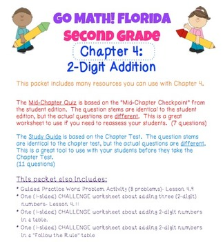 Go Math! Second Grade Study Pack for Chapter 4- Two-Digit