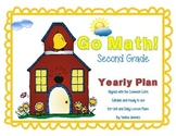 Go Math Second Grade Yearly Plan aligned with the Common Core. Editable!!!