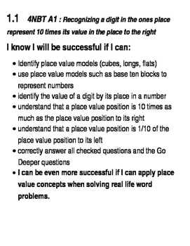 Go Math Success Criteria Grade 4  Chapters 1,2 and 3