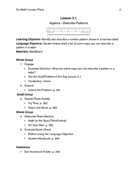 Go Math - Third Grade Lesson Plans - Chapter 5