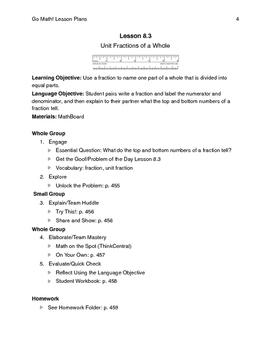 Go Math - Third Grade Lesson Plans - Chapter 8