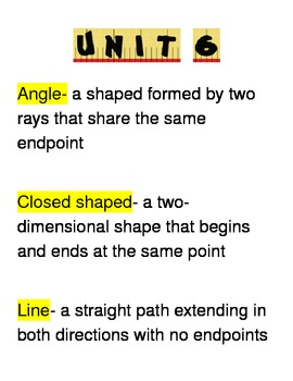 Go Math Third Grade Vocabulary Unit 6