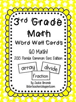 Go Math! Third Grade Word Wall Cards