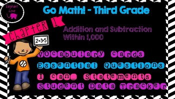 Go Math! Third Grade Word Wall/ Vocabulary Cards ***Bundle***- Chapters 1-12