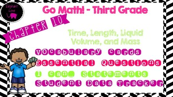 Go Math! Third Grade Word Wall/ Vocabulary Cards- Chapter 10
