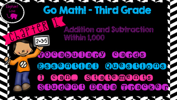 Go Math! Third Grade Word Wall/ Vocabulary- Chapter 1 and 2 Bundle