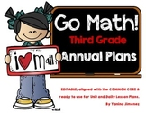 Go Math Third Grade Yearly Plan aligned with the Common Core. Editable!