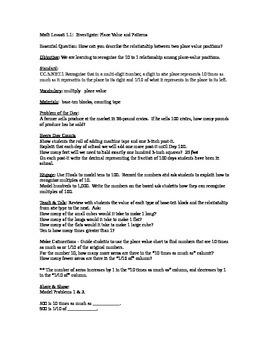 Go Math Unit 1 Lesson Plans