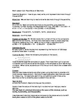 Go Math Unit 3 Lesson Plans