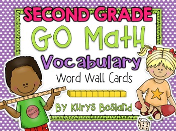 Go Math Vocab Word Wall Cards {75 Second Grade Words}{Comm