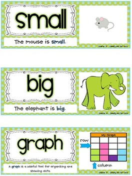 Go Math Vocab Word Wall Cards {All 92 Kindergarten Words}{Common Core Aligned}