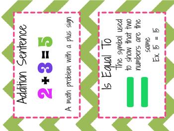 Math Vocabulary Cards Grade 1