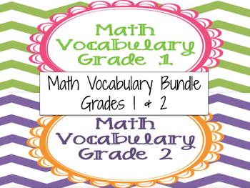 Math Vocabulary Cards Grade 1 & 2 Bundle