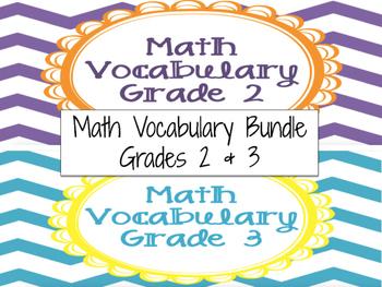 Math Vocabulary Cards Grade 2 & 3 Bundle