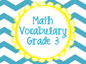 Math Vocabulary Cards Grade 3