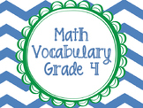 Math Vocabulary Cards Grade 4