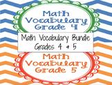 Math Vocabulary Cards Grade 4 & 5 Bundle