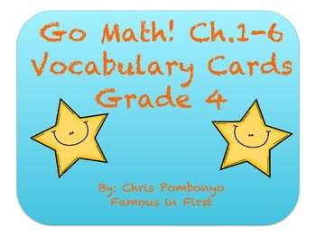 Go Math! Vocabulary Cards -Grade 4/Chapters 1-6