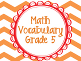 Math Vocabulary Cards Grade 5