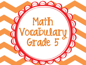 Math Vocabulary Cards Grade 5