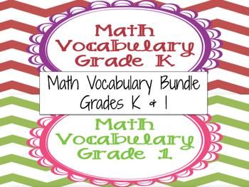 Math Vocabulary Cards Grade K & 1 Bundle