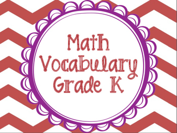Math Vocabulary Cards Grade K
