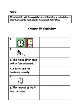 Go Math Vocabulary Match, 3rd Grade, Chapter 10