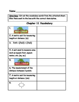 Go Math Vocabulary Match, 3rd Grade, Chapter 11