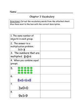 Go Math Vocabulary Match, 3rd Grade, Chapter 3